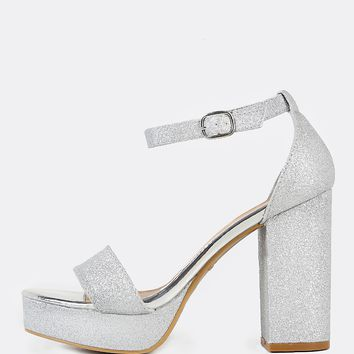 Glitter Ankle Strap Chunky Heels SILVER