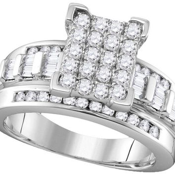 10k White Gold Diamond Cindy\'s Dream Cinderella Bridal Wedding Engagement Ring 2 Cttw Size 9