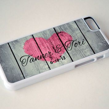 Personalized Rustic Wood iPhone Case, unique iphone case, Rustic Heart, pink, Monogrammed, Country Phone Case for Couples, iPhone 6, 6s Case