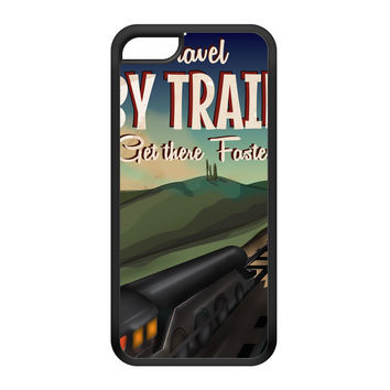 Travel by train Black Silicon Rubber Case for iPhone 5C by Nick Greenaway