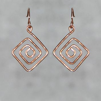 Copper textured hammered Greek Key Pattern Earrings Bridesmaid gifts Free US Shipping handmade Anni designs