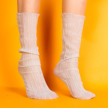 Mona Sheer Sock | White