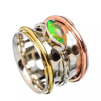 Spinner Ring Ethiopian Opal Fancy Cut