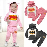 Kids clothes Girls Boys Batman Tops Hoodie Sweatshirt Two-pieces Outfits Set Costume 2-7Y = 1928074180