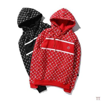 PEAPON Louis Vuitton Woman Men Hooded Print Top Sweater Pullover Hoodie