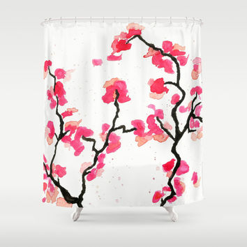 Cherry Blossoms Shower Curtain by Amaya