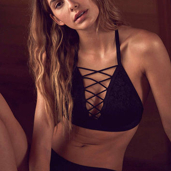 Out From Under Lace Me Up Halter Bra - Urban Outfitters