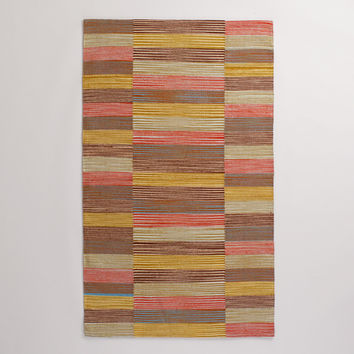 Multicolor Off-Placed Stripe Cotton Rug - World Market