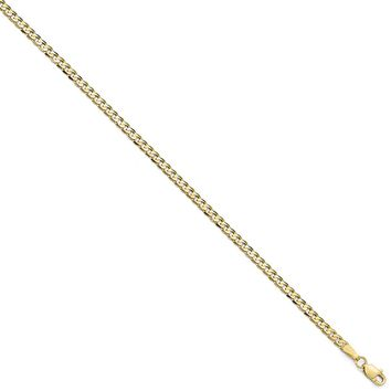 2.4mm 10k Yellow Gold Flat Beveled Curb Chain Necklace