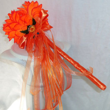 Flower Girl Wand Basket Alternative Coral Silk Flowers