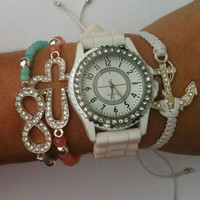 Chunky Stack Set of 4 Turquoise, Pink and White Bracelets With Watch Included