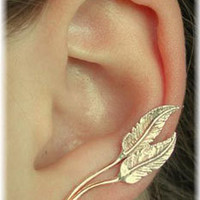 Feather Ear Pin - Single Side - Sterling Silver and Gold Filled