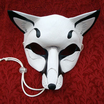 White Fox Leather Mask ...handmade leather fox mask
