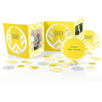 Baby Shower Photo Table Decorating Kit - Chevron Yellow
