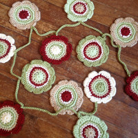 Flower Garland Doily Garland Christmas Decoration Christmas Garland Winter Garland 12 Nature Flowers Green Red Taupe Cream