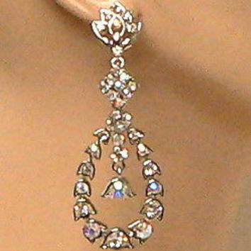 Large Dangling Iridescent Crystal Bridal Earrings