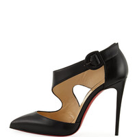 Christian Louboutin Shrpeta Napa Asymmetric Cutout Red Sole Pump, Black