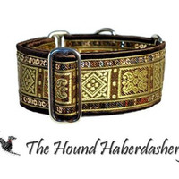 Martingale Collar: Sequined Squares Jacquard  (2 Inch), Greyhound Collar, Whippet Collar, Dog Collar, Custom Dog Collar, Brown and Gold