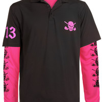 Lucky 13 Men's Polo & Under Shirt (Black/Pink)