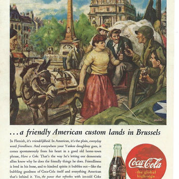 1945 Coca-Cola Vintage Magazine Ad Art For Framing-Retro Home Decor Wall Art-Vintage Ephemera Print Ad-Vintage Print Ad-Collectible Print