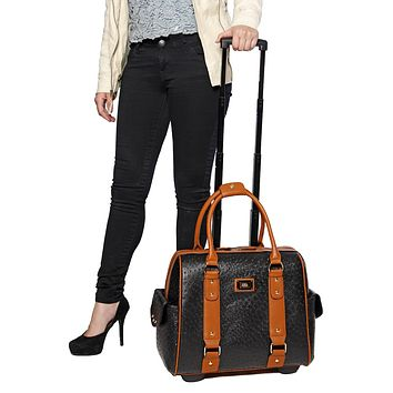 """PREPOSTEROUS OSTRICH"" Black & Brown Rolling Laptop Weekender Tote Carryall Bag"