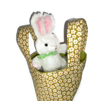 Happy Spring Daisies Teeny Tote with White Bunny