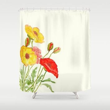 orange and yellow poppies Shower Curtain by Color and Color