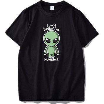 Anime T-shirt graphics Cute Alien T shirt I Don't Believe In Humans Anime t-shirt Cartoons Fashion Pattern Cotton Tee shirts US Size AT_56_4