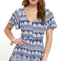 Intricacies Ivory and Blue Print Romper