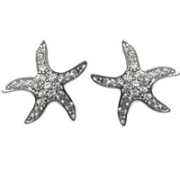 Marypat Pave CZ Star Fish Stud Earrings | Cubic Zirconia | Silver