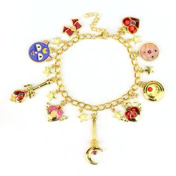 Drop Shipping 1pcs a lot Sailor Moon Charm Bracelet Gold Plated Cute Bracelet & Bangle Christmas Gift for Women Girl