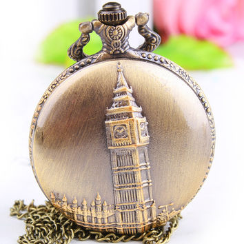 1PC Antique Bronze Pocket Watch Necklace Chain Pendant Long !ONS = 4482682052