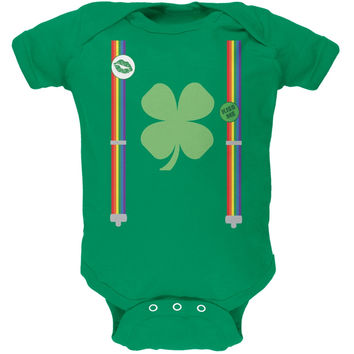 St. Patricks Day - Rainbow Suspenders Kelly Green Soft Baby One Piece