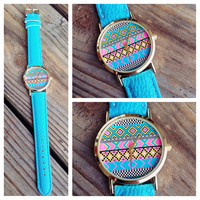 Turquoise Aztec Leather Band Watch
