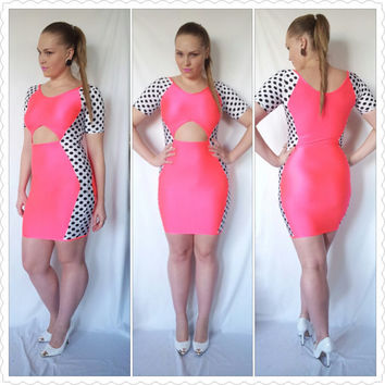 Bodycon Hot Pink and Polka Dot Dress with Cut Out