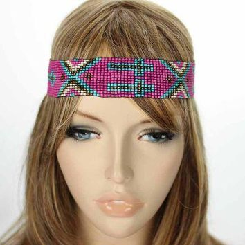 Cross Seed Bead Headband