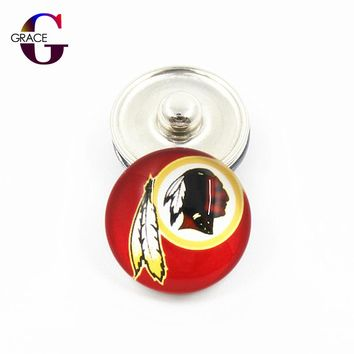 Washington Redskins Football Team Sports Charms 18mm Replaceable Ginger Glass Snap Buttons Fit Snap Bracelets&Bangles Jewelry