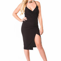 Kayley Wrap Front Strappy Bodycon Dress in Black