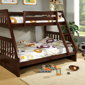 Furniture of america CM-BK605EX-1 Canberra dark walnut finish wood twin over full bunk bed with mission style headboard and footboards