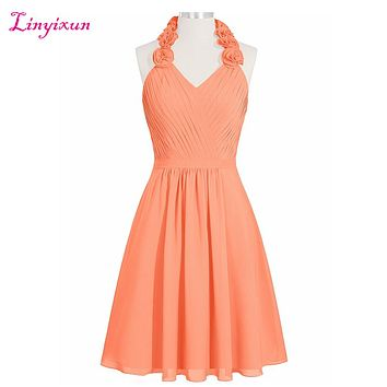 Linyixun Real Photo A-line Homecoming Dresses 2017 Halter Chiffon vestido de formatura curto Flowers Short Graduation Dress