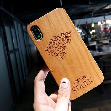 Cool Vintage Retro Wood Carving Phone Case For iPhone 6 6S 7 8 Plus X Owl Flowers King Queen Crown Phone Back Cover Wooden CasesAT_93_12