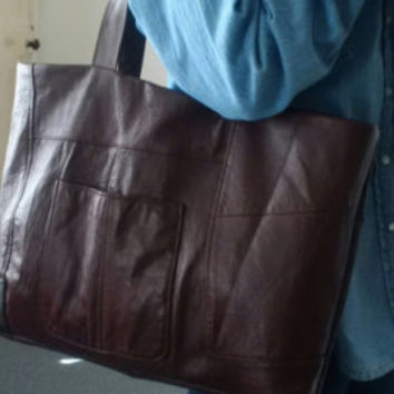large leather bag, recycled leather,brown, burgundy, leather tote bag, manbag, diaper bag, laptop, recycled leather bag,upcycled leather bag