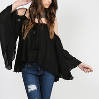 Sheer Flowy Cold Shoulder Top - Black - Medium