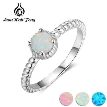 Simple Real 925 Sterling Silver Ring With Round White Opal Stone Anniversary Gifts Fine Jewelry Women Finger Rings(Lam Hub Fong)