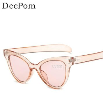 Deepom Cat Eye Sunglasses Women Brand Designer Vintage Candy Color Shade Cateye Sun Glasses Female Top Goggle Oculos Femme 2017
