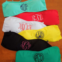 Monogrammed Bandeau Bikini Bathing Suit Top
