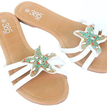 Crystal Starfish Beach Flip Flop Sandal Women's Vegan Shoes