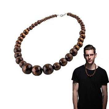 Wood Bead Necklace EVBEA Africa Wooden Chain Statement Unisex Chunky Necklaces