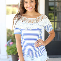 Lovely with Lace Top - Blue