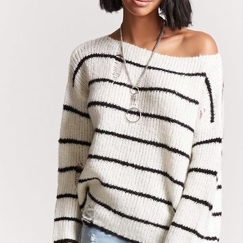 Striped Open-Knit Sweater